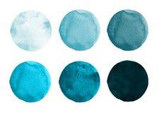 Комплект сини весны акварели, малахита, мяты объезжает Элементы Watercolour круглые для логотипа конструируют, знамена, плакаты бесплатная иллюстрация