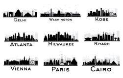 Комплект силуэта горизонта города черно-белого Стоковая Фотография RF