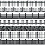 Комплект силуэта загородки вектора Иллюстрация штока