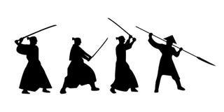 Комплект силуэта ратников самураев с шпагой katana вектор Стоковые Изображения