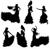 Комплект силуэта танцора фламенко Стоковые Фотографии RF