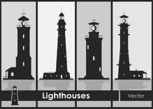 Комплект силуэтов больших маяков Стоковое Изображение RF