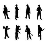 Комплект силуэтов гитариста Стоковые Фото