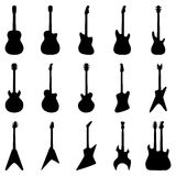 Комплект силуэтов гитар, иллюстрация вектора Стоковые Изображения RF