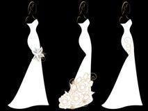 Комплект силуэтов женщин в платьях свадьбы Стоковая Фотография