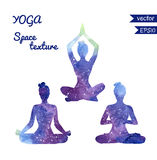 Комплект силуэтов йоги космоса Стоковые Изображения