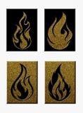 Комплект силуэтов пламени на поднятых блоках Стоковые Изображения