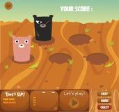 комплект сильный удар дизайн игры темы интерфейса gui медведя Стоковое Изображение