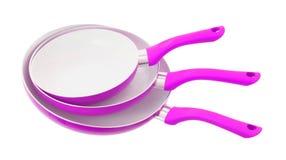 Комплект 3 сковород, розовый Стоковая Фотография