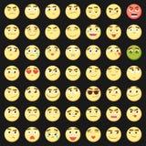 Комплект смайлика Собрание emoji emoticons 3d Значки стороны Smiley изолированные на белой предпосылке вектор иллюстрация вектора