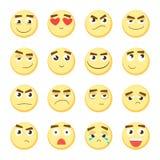 Комплект смайлика Собрание emoji emoticons 3d Значки стороны Smiley на белой предпосылке вектор Стоковые Фотографии RF