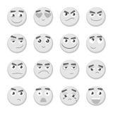 Комплект смайлика Собрание emoji emoticons 3d Изолированные значки стороны Smiley Стоковая Фотография RF