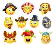Комплект смайлика Emoji истории Стоковое Фото