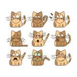 Комплект смайликов кота Стоковое Изображение RF