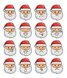 Комплект смайликов Санта Клауса Санта Клаус Emoji иллюстрация штока