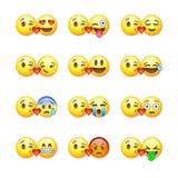 Комплект смайликов, emoji изолированных на белизне иллюстрация штока