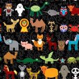 Комплект смешного характера животных шаржа на черной безшовной предпосылке Стоковые Изображения