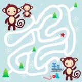 Комплект смешной коричневой обезьяны на свете - голубой предпосылке Стоковые Изображения