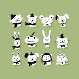 Комплект смешных животных для вашего дизайна Стоковое Фото