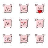 Комплект смешных 9 значков свиней Стоковое Изображение