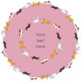 Комплект смешных рамок круга идущей собаки Стоковые Фотографии RF