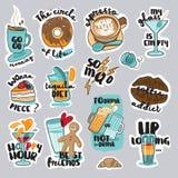 Комплект смешных стикеров еды и питья для социальной сети бесплатная иллюстрация