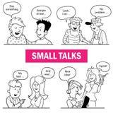 Комплект смешных людей Doodle шаржа Ситуации бессодержательных разговоров Стоковое Изображение
