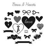 Комплект смычков и сердец Стоковое Изображение