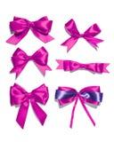 Комплект 6 смычков сатинировки ленты пурпура Стоковая Фотография