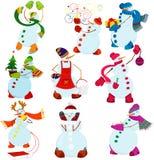 Комплект снеговика шаржа Стоковое Фото
