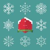 Комплект снежинки в плоском значке дизайна и рождества Стоковые Изображения RF