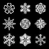 Комплект снежинок бумаги вектора Стоковая Фотография
