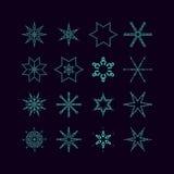 Комплект снежинок векторов Стоковые Изображения