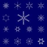Комплект снежинок векторов Стоковая Фотография