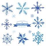 Комплект снежинок в акварели Стоковые Фото