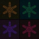Комплект снежинок рождества накаляя красочных бесплатная иллюстрация