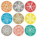 Комплект 9 снежинок doodle Стоковые Изображения