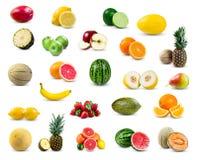 Комплект собрания плодоовощ изолированный на белой предпосылке Стоковая Фотография RF