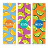 Комплект современного дизайна 3 сочных знамен вертикали частей плодоовощ Стоковое Фото