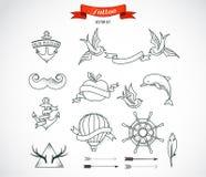 Комплект современного искусства татуировки вектора Стоковое Изображение RF