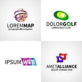 Комплект современного красочного абстрактного гольфа союзничества сети иллюстрация штока