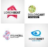 Комплект современного красочного абстрактного логотипа клетки музыки иллюстрация штока
