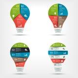 Комплект современной красочной электрической лампочки infographic Шаблон для представления, диаграммы, диаграммы Стоковое Изображение