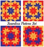 Комплект 4 современных геометрических безшовных картин с косоугольником и квадратами голубых, красных и оранжевых теней Стоковая Фотография RF