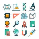 Комплект современных значков науки вектора Стоковые Изображения