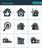 Комплект современных значков Расквартируйте дом продажи дома, животное укрытия, силу, поиск, агент семени, дом на колесах, гараж, иллюстрация штока