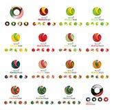 Комплект современных круга, глобуса или концепции логотипа сферы Стоковые Фото