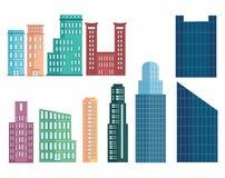 Комплект современных домов Собрание домов в стиле шаржа Небоскребы и деловые центры дома Мульти-рассказа бесплатная иллюстрация