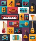 Комплект современных плоских музыкальных инструментов дизайна и Стоковое Изображение RF