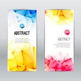 Комплект современных ультрамодных полигональных триангулярных геометрических красочных дел или искусств знамен бесплатная иллюстрация